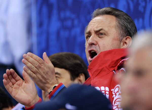 Виталий Мутко во время финального матча по следж-хоккею на Паралимпиаде