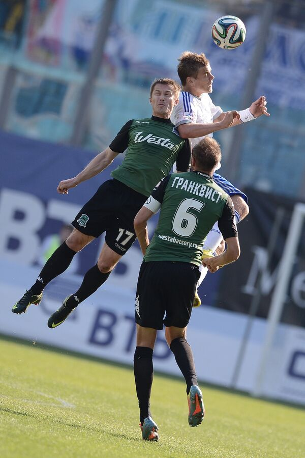 Игровой момент матча Динамо - Краснодар
