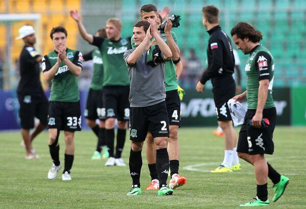 Футболисты Краснодара после победы в матче 29-го тура чемпионата России по футболу