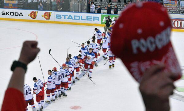 Хоккеисты сборной России после полуфинального матча чемпионата мира