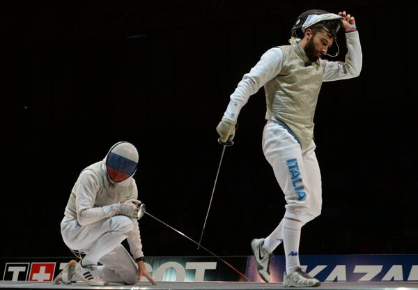 Россиянин Дмитрий Ригин (слева) и Андреа Бальдини (Италия)