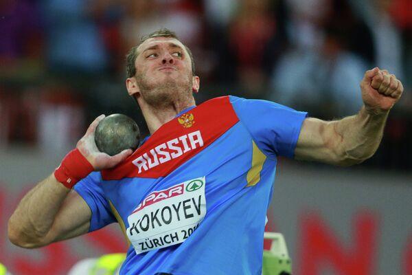 Валерий Кокоев в финале толкания ядра на чемпионате Европы по легкой атлетике в Цюрихе