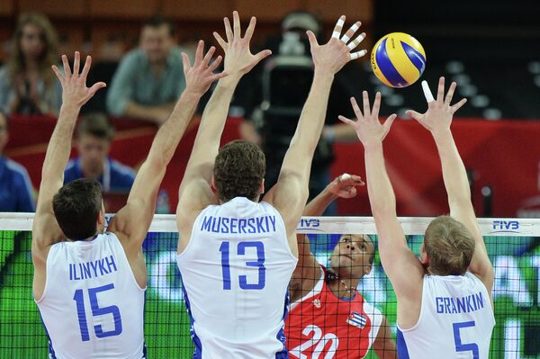 Игровой момент матча Куба - Россия