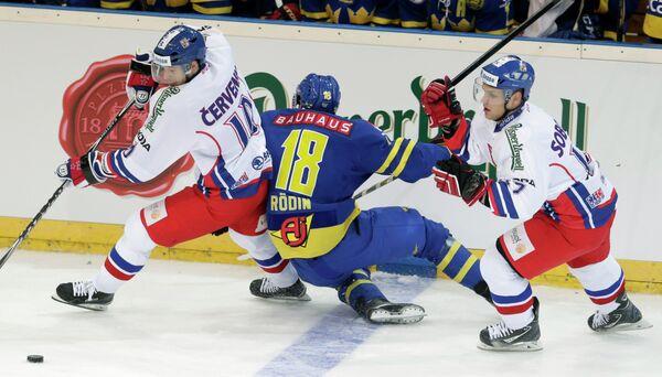 Игровой момент матча Чехия - Швеция