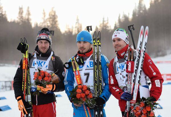 Доминик Ландертингер, Антон Шипулин и Эмиль Хегле Свендсен (слева направо)