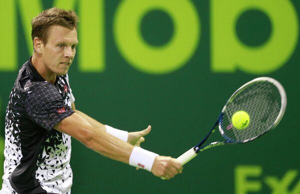 Томаш Бердых на теннисном турнире в Дохе
