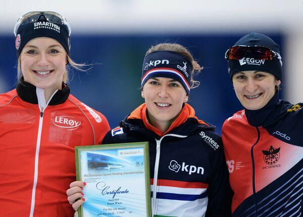 Ида Ньотун (Норвегия) - второе место, Ирен Вюст (Нидерланды) - первое место, Мартина Сабликова (Чехия)