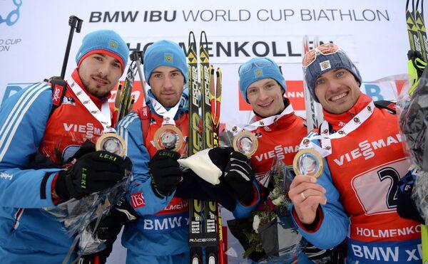 Антон Шипулин, Дмитрий Малышко, Максим Цветков, Евгений Гараничев (Россия) (слева направо)