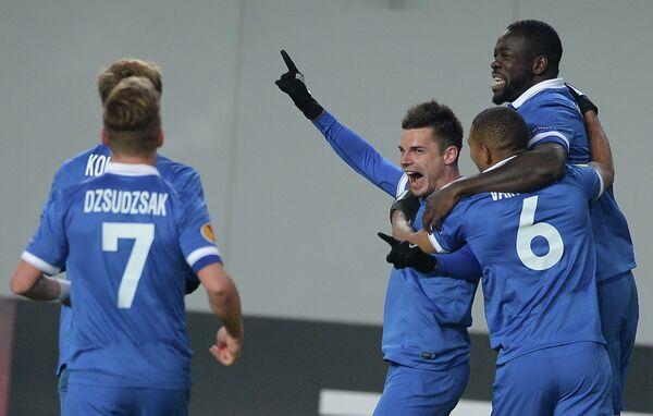 Игроки ФК Динамо Кристофер Самба, Вильям Ванкёр, Артур Юсупов и Балаж Джуджак (справа налево)