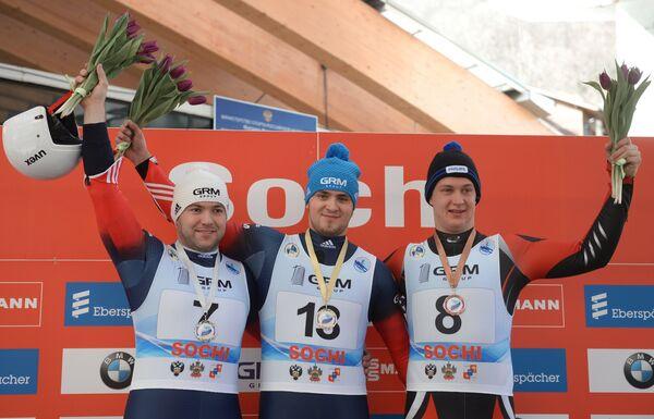 Евгений Воскресенский, Максим Аравин и Рикс Кристенс Розитис (слева направо)