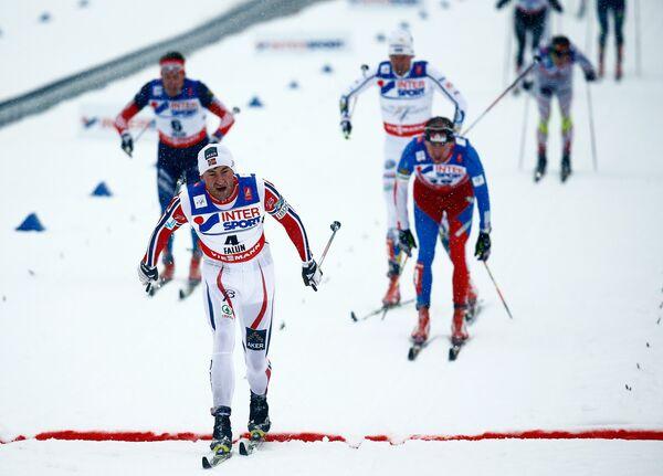 Финиш на 50 км на чемпионате мира по лыжным видам спорта