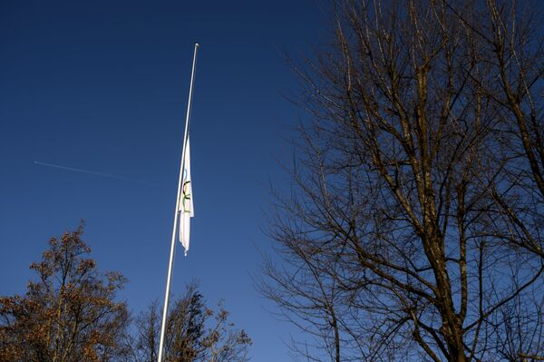 Олимпийский флаг в штаб-квартире Международного олимпийского комитета (МОК)
