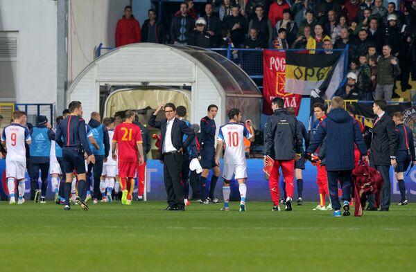 Остановка матча Черногория - Россия