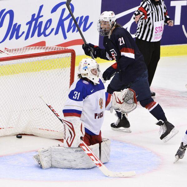 Игровой момент матча США - Россия