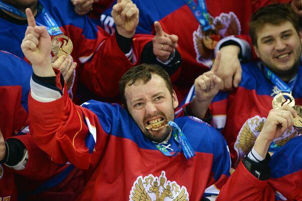 Игроки сборной России по хоккею на Сурдлимпиаде