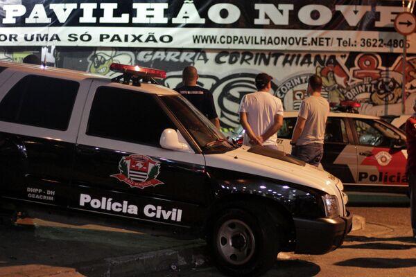Бразильская полиция на месте убийства фанатов Коринтианса