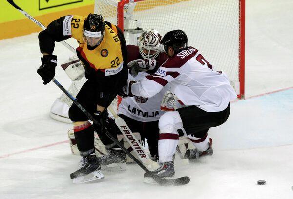 Игровой момент матча Германия - Латвия