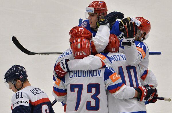 Хоккеисты сборной России по хоккею