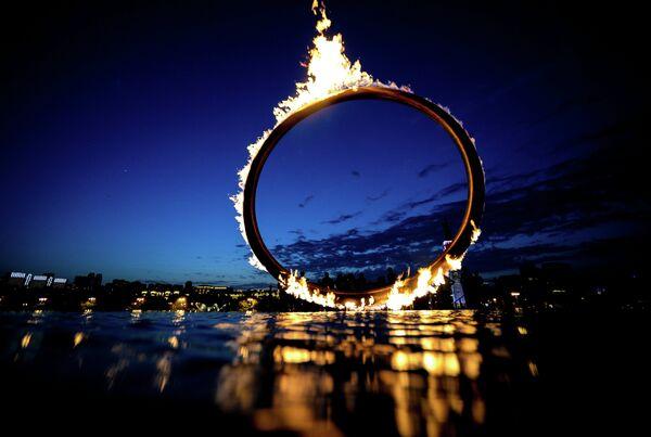 Огонь I Европейских игр на набережной в Баку