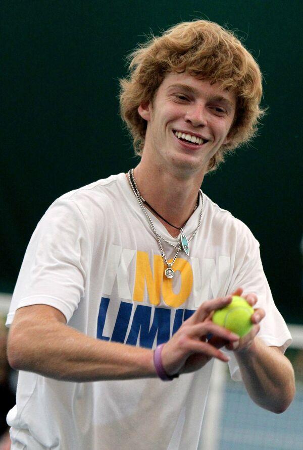 Теннисист сборной России Андрей Рублев на тренировке