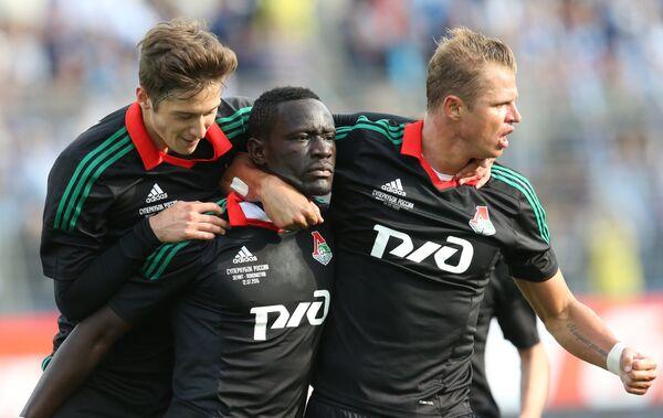 Игроки Локомотива Алексей Миранчук, Бай Умар Ньяссе и Дмитрий Тарасов (слева направо)