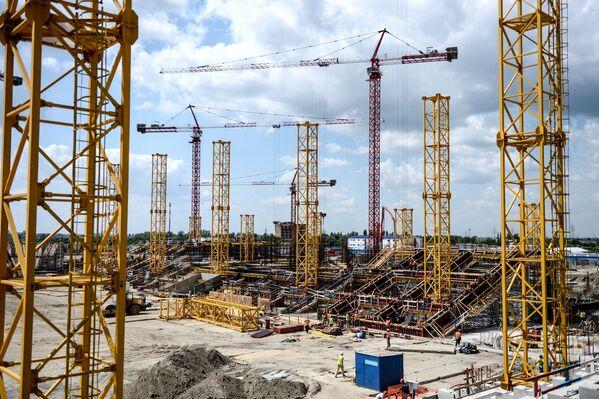 Строительство стадиона Ростов-Арена в Ростове-на-Дону, где будет проходить чемпионат мира по футболу 2018 года