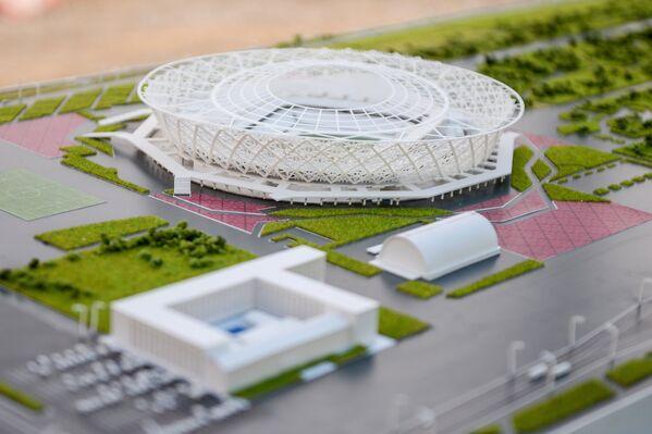 Макет стадиона Победа в Волгограде, который строится для проведения матчей чемпионата мира по футболу 2018 года