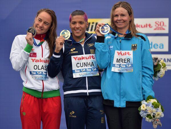 Венгерка Анна Олаж, бразильянка Ана Марсела Кунья и немка Ангела Маурер (слева направо)