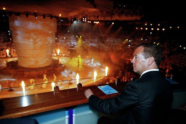 Премьер-министр России Дмитрий Медведев на церемонии закрытия XVI чемпионата мира по водным видам спорта в Казани