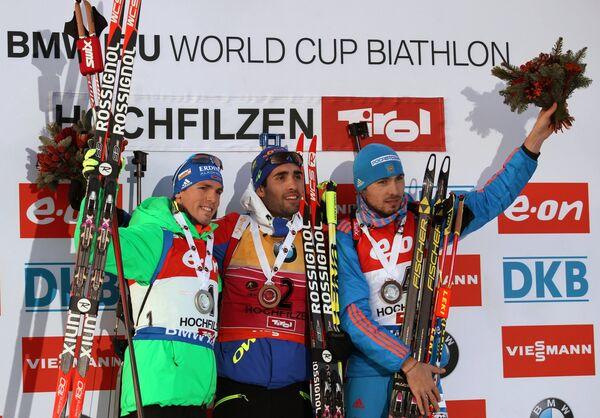Симон Шемп, Мартен Фуркад и Антон Шипулин (слева направо)