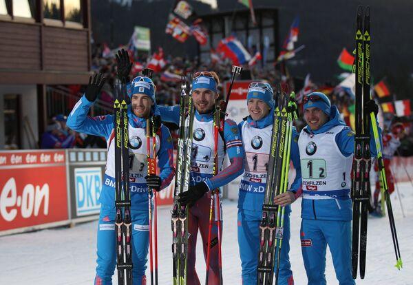 Российские биатлонисты Дмитрий Малышко, Антон Шипулин, Алексей Волков, Евгений Гараничев (слева направо)