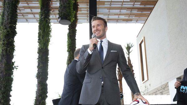 Дэвид Бекхэм на пресс-конференции в Майами