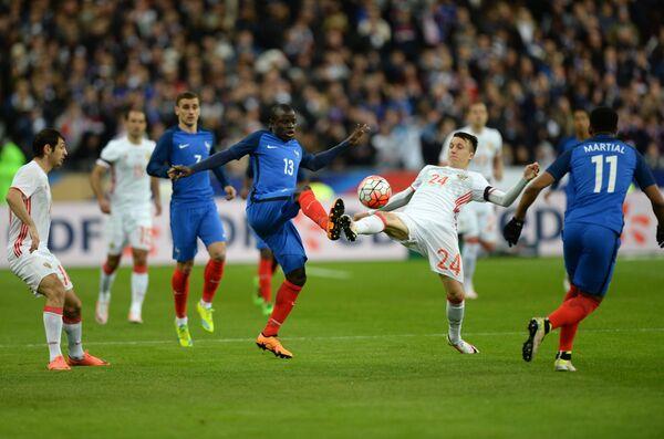 Игровой момент товарищеского матча Франция - Россия