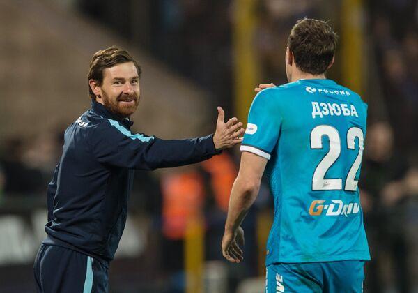 Главный тренер Зенита Андре Виллаш-Боаш (слева) и нападающий Зенита Артем Дзюба