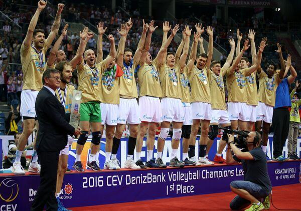 Волейболисты казанского Зенита радуются победе в Лиге чемпионов