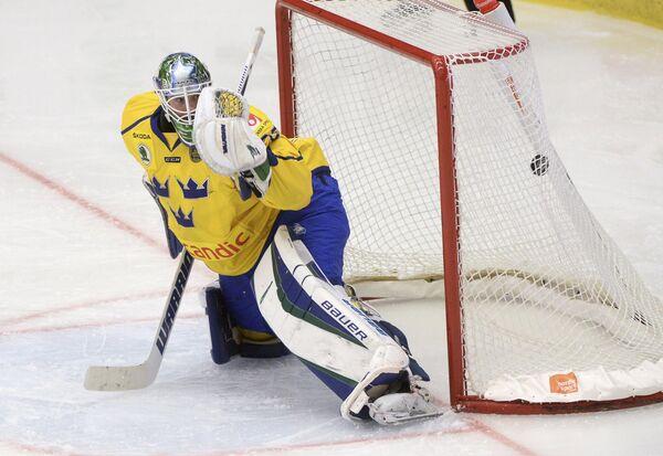 Вратарь сборной Швеции по хоккею Якоб Маркстрём