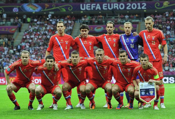 Футболисты сборной России перед матчем на Евро-2012