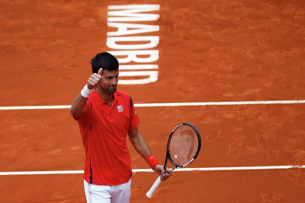 Новак Джокович на теннисном турнире в Мадриде