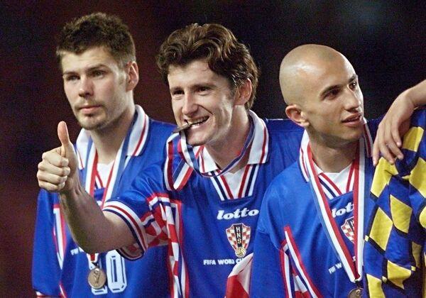 Звонимир Бобан, Давор Шукер и Петар Крапан (слева направо). Архив, 1998 год
