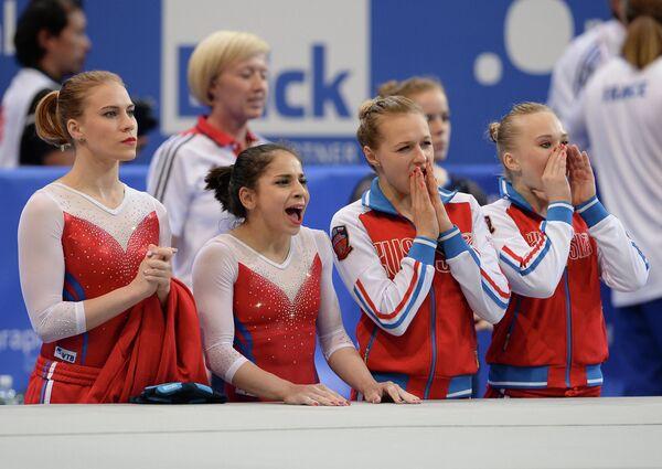 Гимнастки сборной России Ксения Афанасьева, Седа Тутхалян, Дарья Спиридонова и Ангелина Мельникова (слева направо)