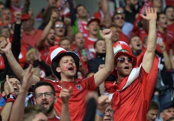 Австрийские болельщики перед началом матча