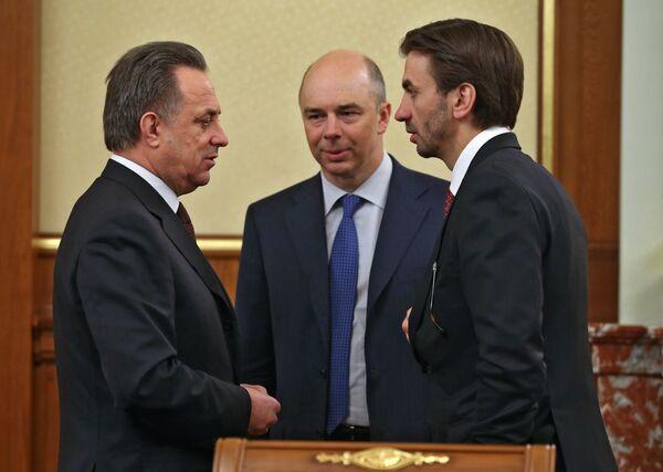 Виталий Мутко, Антон Силуанов и Михаил Абызов (слева направо)