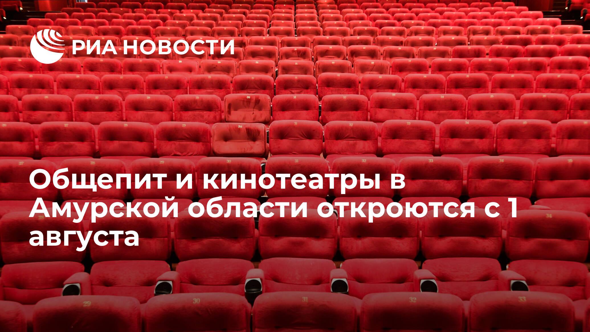 Общепит и кинотеатры в Амурской области откроются с 1 августа